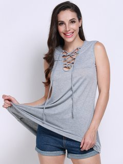 Women Casual Lace-up Sleeveless Notched Neck Top