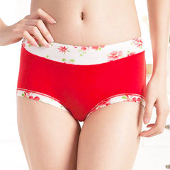 Cozy Floral Printing Mid Waist Panties Bamboo Fiber Breathable Underwear For Women