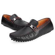 Men Leather Metal Pure Color British Style Slip On Flat Loafers