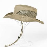 Men Women Mountaineering Fishing Mesh Cap Bucket Hat Folding Outdoors Sun Hat
