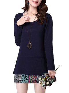 Loose Printing Stitching Round Neck Long Sleeve Blouse For Women