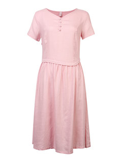 Women V Neck Pure Color Short Sleeve Vintage Dress