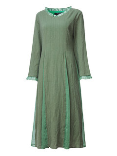 O-NEWE Women Vintage Lace Round Neck Pure Color Long Sleeve Maxi Dress