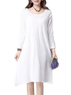 Чистый цвет Элегантный лёгкой струящейся с длинным рукавом платье женщин