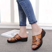 Leather Flower Hollow Out National Wind Peep Toe Soft Platform Sandals