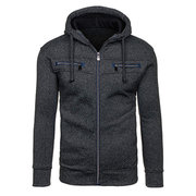 Mens Hoodies Solid Color Zipper Hood Fashion Casual Cotton Blend Sport Hooded Tops