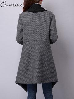 O-NEWE Casual Elegant Long Sleeve Chiffon Patchwork Irregular Cardigan For Women