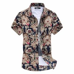Large Size Mens Summer Beach Style Pattern Cotton Blend Casual Short Sleeved Shirts