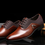 Big Size Men Leather Color Match Breathable Lace Up Flat Business Formal Shoes
