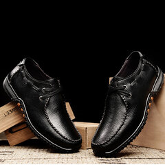 Big Size Men Leather Lace Soft Breathable Slip On Casual Shoes