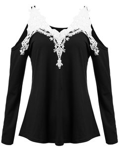 Lace Crochet Off Shoulder Long Sleeve V-Neck Sexy Women  T-shirt