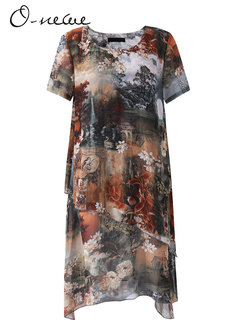 O-Newe Vintage Printed O-Neck Short Sleeve Chiffon Dress For Women