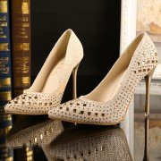 8 cm And 11 cm Pu Hollow Out Bling Shiny Breathable Pointed Toe Slip On Stiletto High Heel Pumps