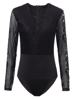 Lace-Up Long Sleeve Solid Sexy Women  Short Jumpsuit