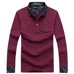 Fall Winter Mens Solid Color Plaid Turndown Collor Long Sleeve Casual Polo T-shirts