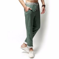 Spring Summer Mens Linen Solid Color Loose Long Trousers Flax Leisure Pants