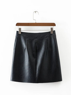 Women Casual Single Breasted A-line Solid Color Mini Skirt