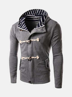 Men's Fall Winter Cardigan Unqiue Button Casual Hooded Sweater Overcoat