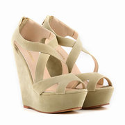 Big Size Suede Candy Color Zipper Hollow Out Peep Toe Wedge Heel Pumps