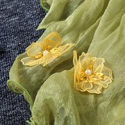 Women National Style Chiffon Scarf Yellow Flowers Embroidery Long Shawl Scarves