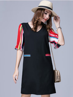 Elegant Women Half Sleeve Stripe Ruffle Patchwork Party Mini Dress