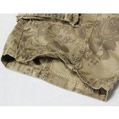 Mens Casual Loose Stripe Camo Cotton Multi-pockets Cargo Short Pants