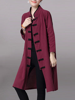 Vintage Stand Collar Plate Button Side Split Cardigan For Women