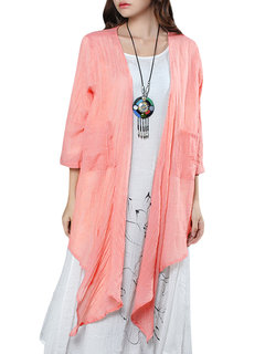 Loose Pure Color Pocket Asymmetric Thin Cardigan For Women