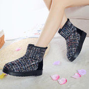 Colorful Knitting Weave Soft Fur Lining Ankle Snow Boots