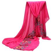 Women National Style Linen Cotton Scraves Flower Embroidery Folk Stole Long Shawl Wrap