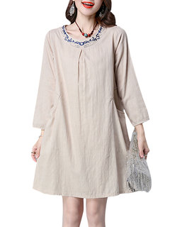 Women Embroidery Long Sleeve Pure Color Vintage Dress