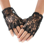 Women Lace Fingerless Gloves Laciness Sun Protection Wedding Gloves