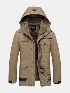 Открытый зимний сгущает Мульти Safe Карманы отстегивающимся капюшоном сплошной цвет куртки для мужчин