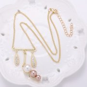 Balancing Style Vintage Alloy Tassel Rhinestone Leaves Pearl Necklace