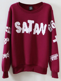 Casual Letter Printed Long Sleeve Cotton Sweatshirt For Women