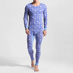 Casual Pure Cotton Deer Printing Slim Tight Fitting Warm Pajamas Sets for Men