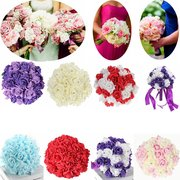 30 Heads Colourfast Foam Crystal Artificial Roses Flower Home Wedding Bride Bouquet Party Decoration
