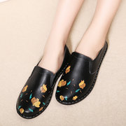 Flower Print Leather Soft Flat Comfortable Casual Shoes