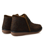 Flower Pattern Color Match Fur Lining Casual High Top Boots