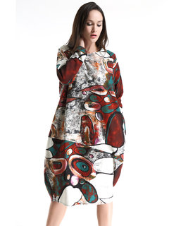 Women Vintage Graffiti Printed Long Sleeve Loose Dress