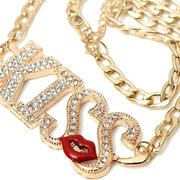 Rhinestone Letter Kiss Chain Necklace