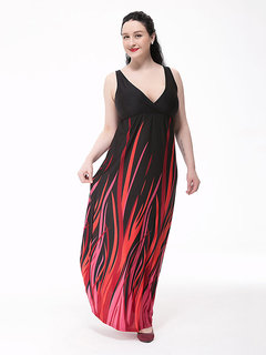 Sexy Women Printed Strap V-Neck Maxi Dress