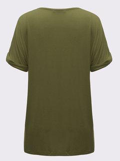 Повседневная Женщины Solid V-образным вырезом с коротким рукавом футболки