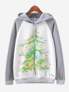 Floral Printed Long Sleeve Hooded Cotton Sweatshirt For Women