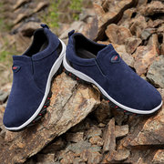 Men Suede Soft Breathable Slip On Outdoor Resistant Hiking Sneakers