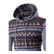 Mens Hoodies Retro Contrast Color Pattern Printing Front Pocket Sport Casual Hooded Tops