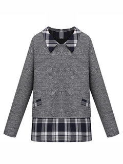 Women Long Sleeve Fake Two-piece Patchwork Sweater