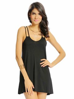 Women Sexy Loose Backless Cross Strap Camisole V-neck Mini Dress