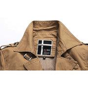 Весна Осень Мужская однобортный пиджак с поясом тренчкот Омывается Хлопок Outwear