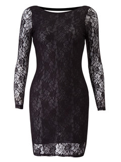 Lace  Transparent Backless Long Sleeve Women Sexy   Dress
